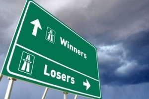 Traffic sign for Winners or Losers - business concept