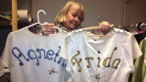 Abba Museum Curator and the band's stylist -  Ingmarie Halling - showing some of the memorable that will be on show at the permanent ABBA Museum in Stockholm