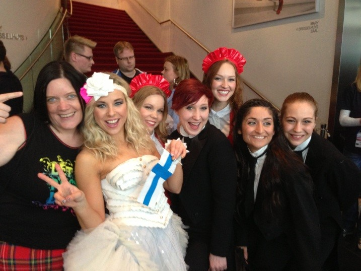Eurovision Ireland's Elaine Dove with Team Ding Dong aka - Krista from Finland