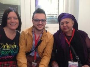 Eurovision Ireland's Elaine Dove with Esma and Lozano from FYR Macedonia