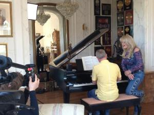 Uk Eurovision 2013 Entrant Bonnie Tyler with the Eurovision TV Crew from Sweden shooting her Postcard.