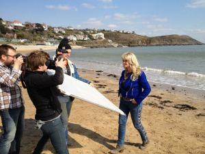 Uk Eurovision 2013 Entrant Bonnie Tyler on Langland Bay with the Eurovision TV Crew from Sweden