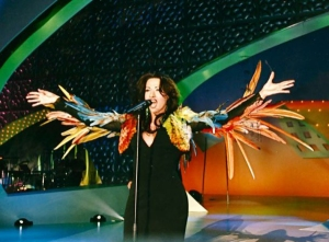 Danan International wearing her Jean Paul Gautier dress on her Eurovision 1998 Reprise Dress. Photograph Courtesy of modamalona.com