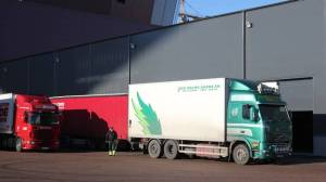 The Trucks are lined up with tons of Eurovision Equipment. Photograph courtesy of Emelie Birgersson/SVT