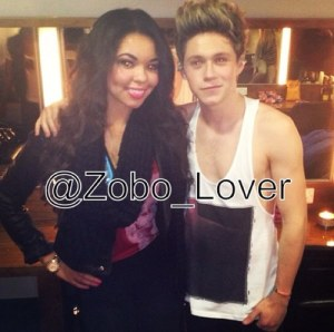 Eurosong Finalist Zoe Alexis with her good friend Niall Horan from One Direction - Photograph courtesy of Zobo_Lover (Twitter)