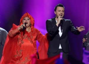 Esma and Lozano of Macedonia sing their song Pred Da Se Razdeni (Before the Sunrise) during the second semifinal of the Eurovision Song Contest at the Malmo Arena in Malmo, Sweden, Thursday, May  16, 2013. (Photo/Alastair Grant)