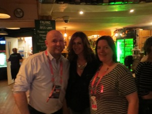 Garrett and Elaine of Eurovision Ireland with Hannah from Slovenia at the Irish Delegation and Tourism Ireland's Celebrations