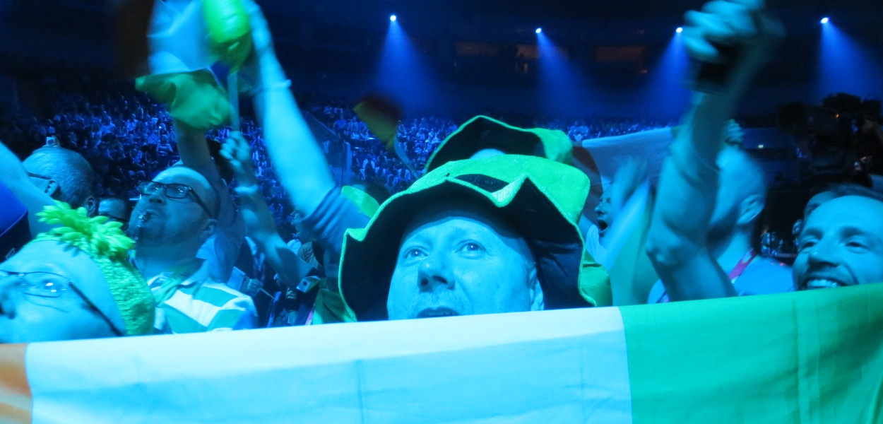 Eurovision 2013 fans celebrating the the Malmo Arena at Semi Final 1. - Photograph - Eurovision Ireland
