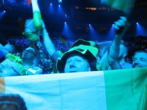 Eurovision 2013 fans celebrating the the Malmo Arena at Semi Final 1. - Photograph - Eurovision Ireland