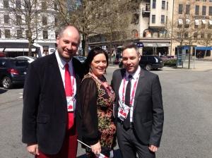 David Elder, Elaine Dove and Paul Jordan at The Georgian Embassy Reception