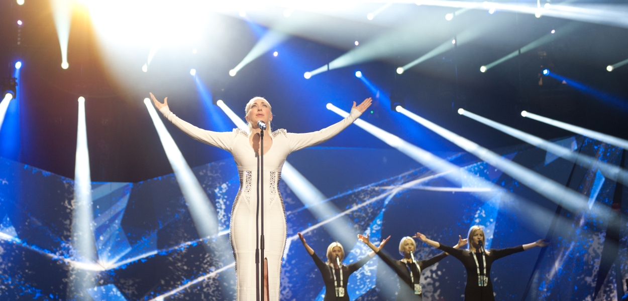 Norway's Margaret Berger takes to the stage for her second rehearsal. Photograph courtesy of Eurovision.tv © Sander Hesterman (EBU)