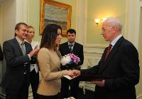 Prime Minister Mykola Azarov congratulating Ukrainian Eurovision 2013 singer Zlata Ognevich. Photograph ForUM