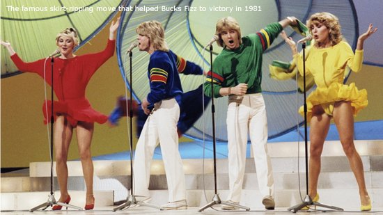 Bucks Fizz winning Eurovision in 1981 in Dublin. Photograph courtesy of RTE.ie