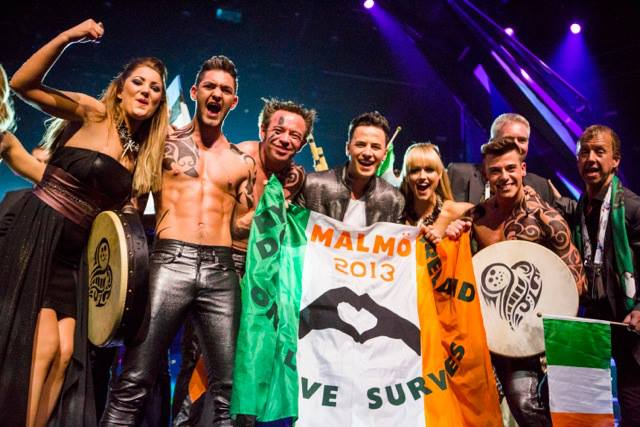 Ryan Dolan and Team Ireland celebrating qualifying for the Eurovision Grand Final 2013. Photograph courtesy of Facebook