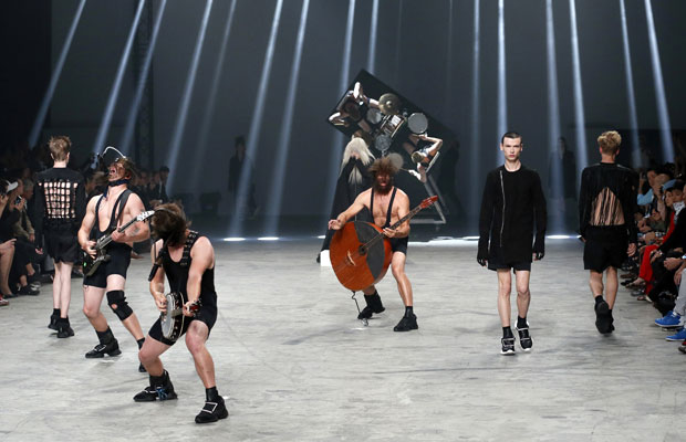 "Eorovision Hopefuls ""Winnie Puhh"" at the Rick Owens fashion show in Paris yesterday. Photograph courtesy of www.montrealgazette.com"
