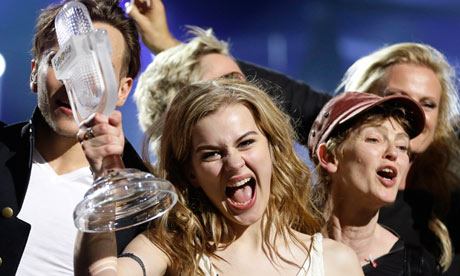 Eurovision 2013 winner - Emmelie de Forest with the Eurovision Trophy - all in one piece. Photograph courtesy of sabotagetimes.com