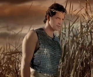 Sakis Rouvas in the play Vakhes. Photograph courtesy of ourgreektv.com