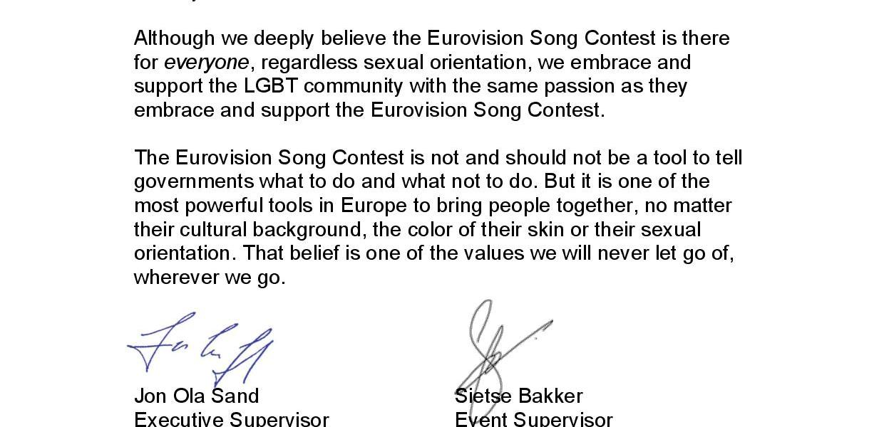 EBU Executive Supervisor (Jon Ola Sand) and EBU Event Supervisor) Response to Eurovision Ireland's Editorial Open Letter on GLBT challenges across Europe. Photograph property of Eurovision Ireland