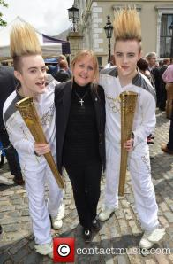 Jedward and their new manager -  Mum Susanna? Photograph courtesy of comtact music.ie