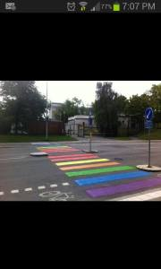 The new Zebra Crossing outside the Russian Embassy in Stockholm. Photograph courtesy of Facebook