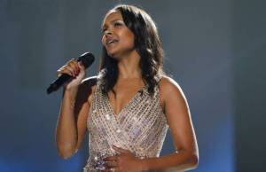 """Samantha Mumba joinns Johnny Logan in the final of """"The Hit"""". Photograph courtesy of Independent.ie"""
