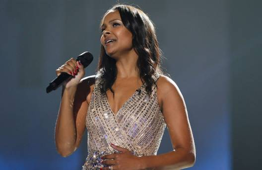 "Samantha Mumba joinns Johnny Logan in the final of ""The Hit"". Photograph courtesy of Independent.ie"