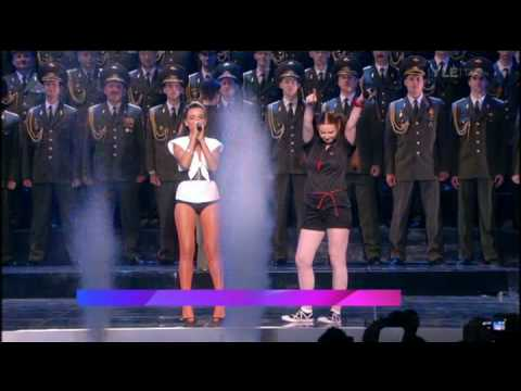 t.A.T.u and The Red Army Choir. Photogrpah courtesy of YouTube