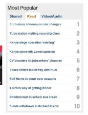 Eurovision 2014 is BBC's #1 Trending story this afternoon. Photograph courtesy of BBC and Monty Moncrieff.