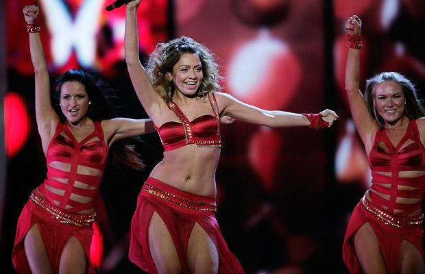 Hadise at Eurovision 2009 representing Turkey. Photograph courtesy of Telegraph.co.uk