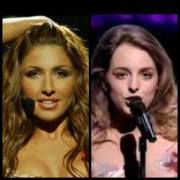 Helena Paparizou (2005) and Anabel Conde (1995). Photograph courtesy of YouTube