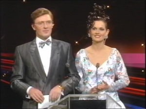 Pat Kenny and Michelle Rocca presenting Eurovision 1988 in Dublin. Photograph courtesy of YouTube and RTE