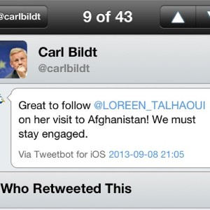 Swedish Foreign Minister Carl Bildt following Loreen's trip and asking people to become engaged in the Afghanistan situation. Photograph courtesy of Twitter