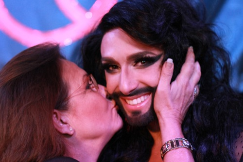 Conchita Wurst And Eurovision Winner Anne-Marie David. Photograph courtesy of OGAE Austria and Bernhard Wochele