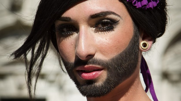 Conchita Wurst for Eurovision 2014. Photograph courtesy of cronicasdeeurofestivais