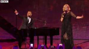 """Agnetha Fältskog and Gary Barlow at """"Children In Need Rocks"""" Concert. Photograph courtesy of BBC."""