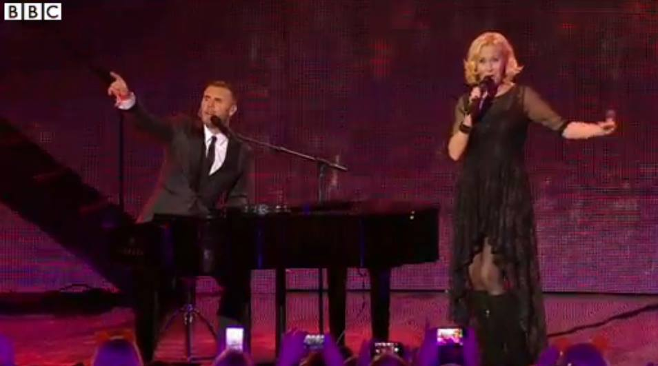 "Agnetha Fältskog and Gary Barlow at ""Children In Need Rocks"" Concert. Photograph courtesy of BBC."