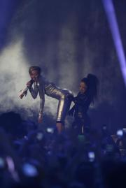 Lena and Marco Mengoni Lose out to Miley Cyrus' Antics. (AP Photo/Peter Dejong)