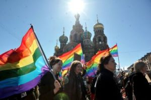 Gay rights activists march in Russia's second city of St. Petersburg May 1, 2013, during their rally against a controversial law in the city that activists see as violating the rights of gays. (OLGA MALTSEVA/AFP/Getty Images)