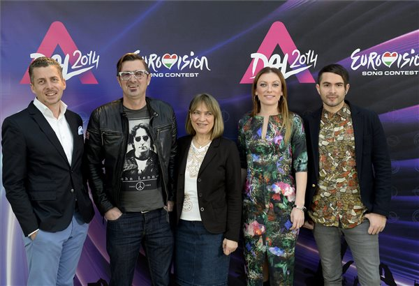 Rákay Philip, deputy general manager of MTV Ltd., Csiszar Eugene radio host, Katie and Ruzsa Magdi singers and ByeAlex are the A-Dal 2014 Jury Members. MTI Photo: Lajos Soos