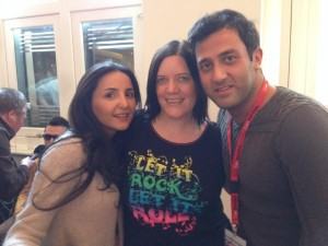 Elaine with Sophie and Nodi Backstage. Photo : Eurovision Irelnd