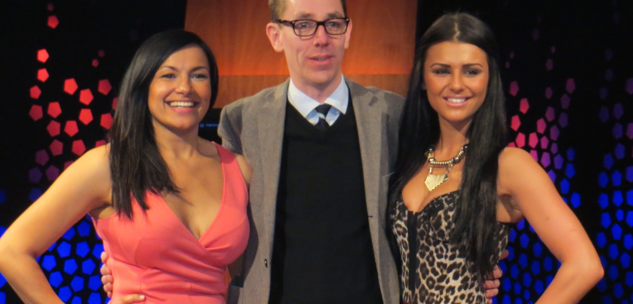 (L to R) Hazel Kaneswaran, Ryan Tubridy and Kassey Smith. Photo : Eurovision Ireland