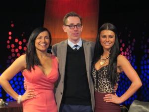 (L to R) Hazel Kaneswaran, Ryan Tubridy and Kassey Smith. Photo : Eurovision Ireland