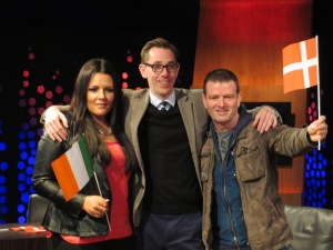 (L to R) laura O'Neill, Ryan Tubridy and Billy McGuinness. Photo : Eurovision Ireland