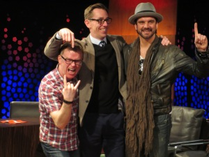 (L to R) Cormac Battle, Ryan Tubridy and Andrew Mann. Photo : Eurovision Ireland
