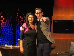 Patricia Roe and Host Ryan Tubridy. Photo Eurovision Ireland