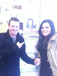 Laura and Billy hikacking the RTE Noticeboard. Photo : Laura @'Neill Facebook