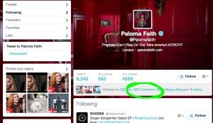 Paloma Faith Twitter. Photo : ESC Insight