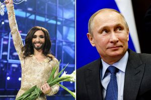 Conchita Wurst and President Vladimir Putin. Photo : tomatobubble.com