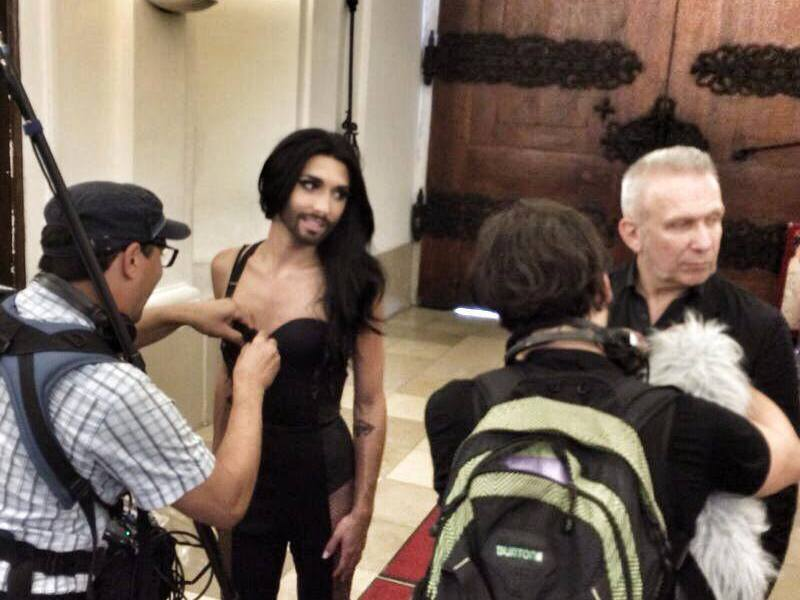 Conchita and Jean Paul Gaultier in Vienna. Photo : Conchita Wurst Twitter
