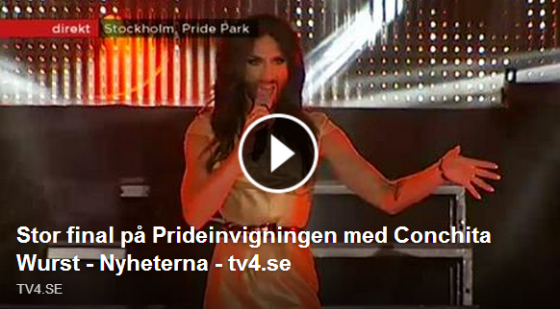 Conchita at Stockholm Pride. Photo : TV4.SE